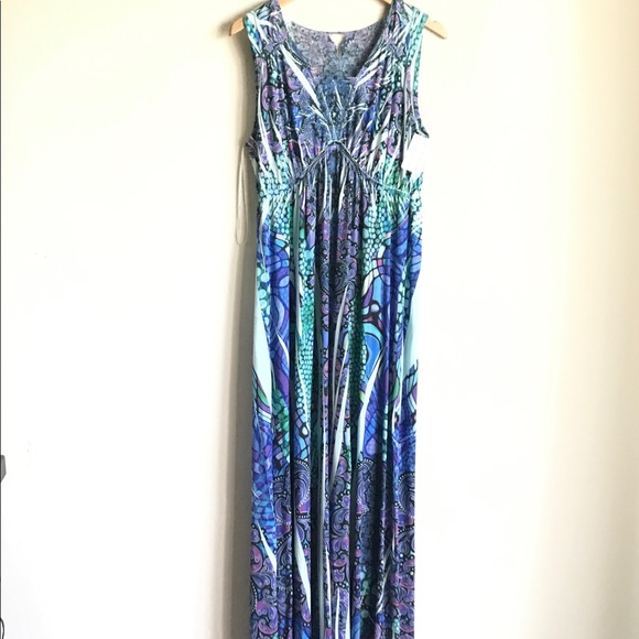 Style & Co Dresses & Skirts - Style & Co Sublimated Blue Print Maxi Dress Size M
